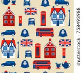 seamless pattern with taxi ...   Shutterstock .eps vector #758493988