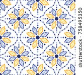 traditional portugal azulejos... | Shutterstock .eps vector #758495350