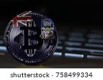 bitcoin close up on keyboard... | Shutterstock . vector #758499334