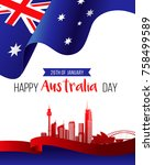 26 january happy australia day. ... | Shutterstock .eps vector #758499589