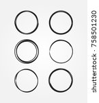 set of round black frames drawn ... | Shutterstock .eps vector #758501230