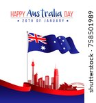 26 january happy australia day. ... | Shutterstock .eps vector #758501989