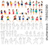 isolated collection of children ... | Shutterstock .eps vector #758502580