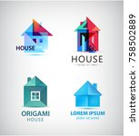 vector set of origami and... | Shutterstock .eps vector #758502889