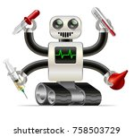 cartoon medical robot with... | Shutterstock . vector #758503729