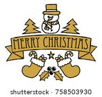 a merry christmas greetings... | Shutterstock .eps vector #758503930