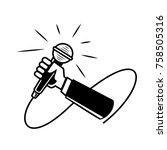 hand held microphone... | Shutterstock .eps vector #758505316