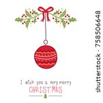 christmas greeting card.vector | Shutterstock .eps vector #758506648