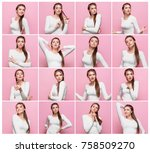 set of young woman's portraits... | Shutterstock . vector #758509270