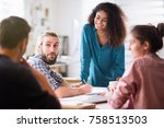 meeting at the office of a... | Shutterstock . vector #758513503