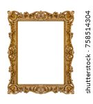 old wooden picture frame... | Shutterstock . vector #758514304