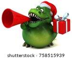 fun dinosaur  3d illustration   Shutterstock . vector #758515939