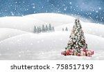 christmas tree with golden an... | Shutterstock . vector #758517193