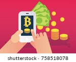 cryptocurrency wallet and... | Shutterstock .eps vector #758518078