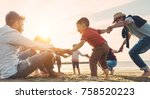 family friends having fun on... | Shutterstock . vector #758520223