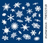 set of white snowflakes falling ... | Shutterstock .eps vector #758522518