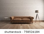 classic sofa with white brick... | Shutterstock . vector #758526184