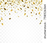 golden confetti on the checked... | Shutterstock .eps vector #758526364
