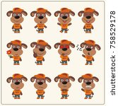 collection of isolated puppy... | Shutterstock .eps vector #758529178