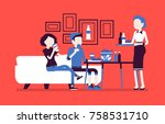 eating at the cafe. business... | Shutterstock .eps vector #758531710