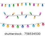 glowing light bulbs design... | Shutterstock .eps vector #758534530