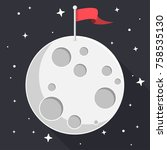 moon with flag and stars flat...   Shutterstock .eps vector #758535130