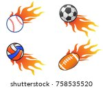 color fire ball icons set | Shutterstock .eps vector #758535520