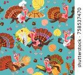 seamless pattern cartoon... | Shutterstock .eps vector #758537470