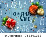 christmas sale template with... | Shutterstock .eps vector #758541388