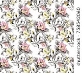 watercolor seamless pattern... | Shutterstock . vector #758542060