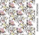 watercolor seamless pattern... | Shutterstock . vector #758542060