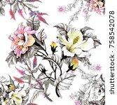 watercolor seamless pattern... | Shutterstock . vector #758542078
