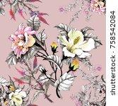 watercolor seamless pattern...   Shutterstock . vector #758542084