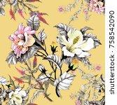 watercolor seamless pattern... | Shutterstock . vector #758542090