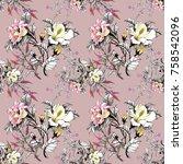 watercolor seamless pattern...   Shutterstock . vector #758542096