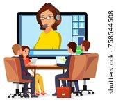 video meeting online vector.... | Shutterstock .eps vector #758544508