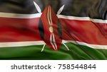 flag  kenya  waving flag of ...   Shutterstock . vector #758544844