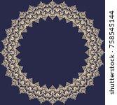 oriental vector golden round... | Shutterstock .eps vector #758545144