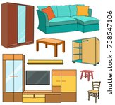 furniture large collection... | Shutterstock .eps vector #758547106