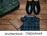flat lay of men's accessary on...   Shutterstock . vector #758549449