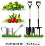 set of gardening related items... | Shutterstock .eps vector #75855112