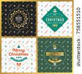 set of vintage christmas... | Shutterstock .eps vector #758551510