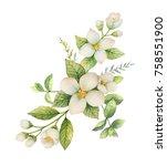 watercolor wreath of jasmine... | Shutterstock . vector #758551900