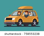 road trip with family. father ... | Shutterstock .eps vector #758553238