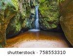 waterfall in adrspach teplice... | Shutterstock . vector #758553310