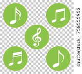 green colored music notes and... | Shutterstock .eps vector #758555953