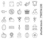 rural icons set. outline set of ... | Shutterstock .eps vector #758556130