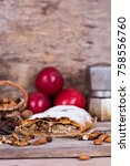 sliced homemade apple strudel... | Shutterstock . vector #758556760