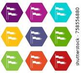 ancient battle flags icon set...   Shutterstock .eps vector #758556880