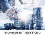 double exposure of businessman... | Shutterstock . vector #758557390